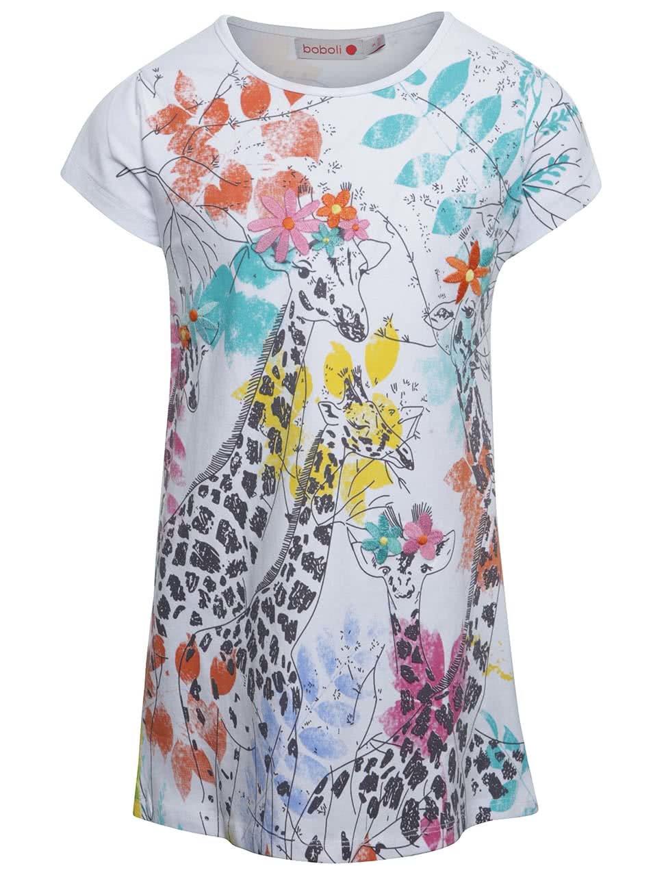 Bílé holčičí šaty s potiskem žiraf Bóboli