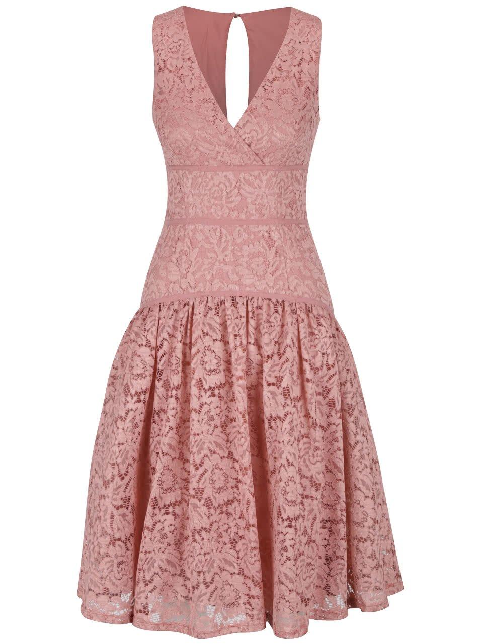 Starorůžové krajkové šaty s překládaným dekoltem Little Mistress