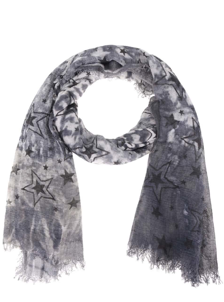 Modrošedý šátek s motivem hvězd Haily´s Estefania