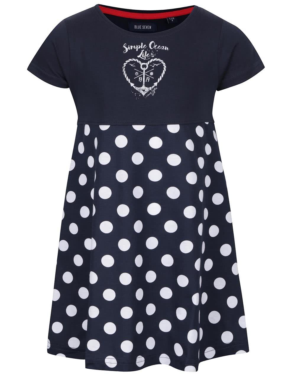 Tmavě modré holčičí šaty s puntíky Blue Seven
