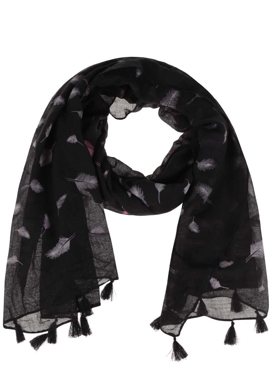 Růžovo-černý šátek s třásněmi a motivem pírek Haily´s Liliana