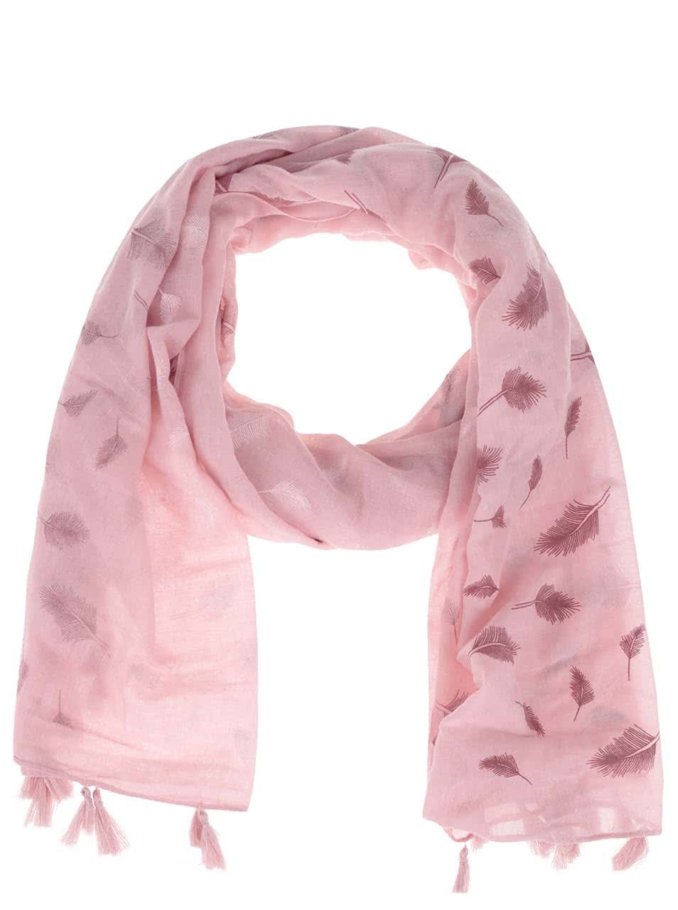 Růžový šátek s třásněmi a motivem pírek Haily´s Liliana