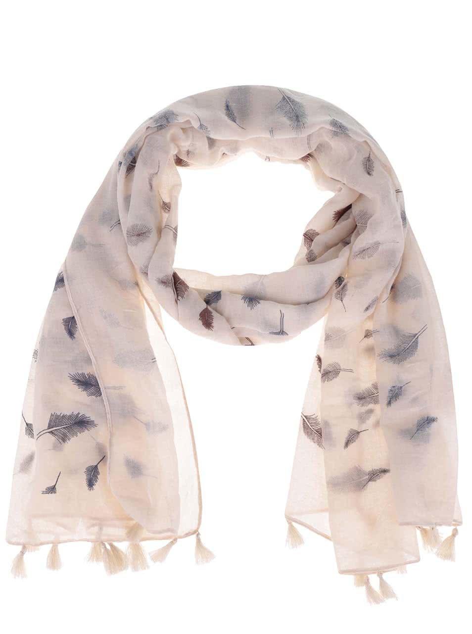 Béžovo-modrý šátek s třásněmi a motivem pírek Haily´s Liliana