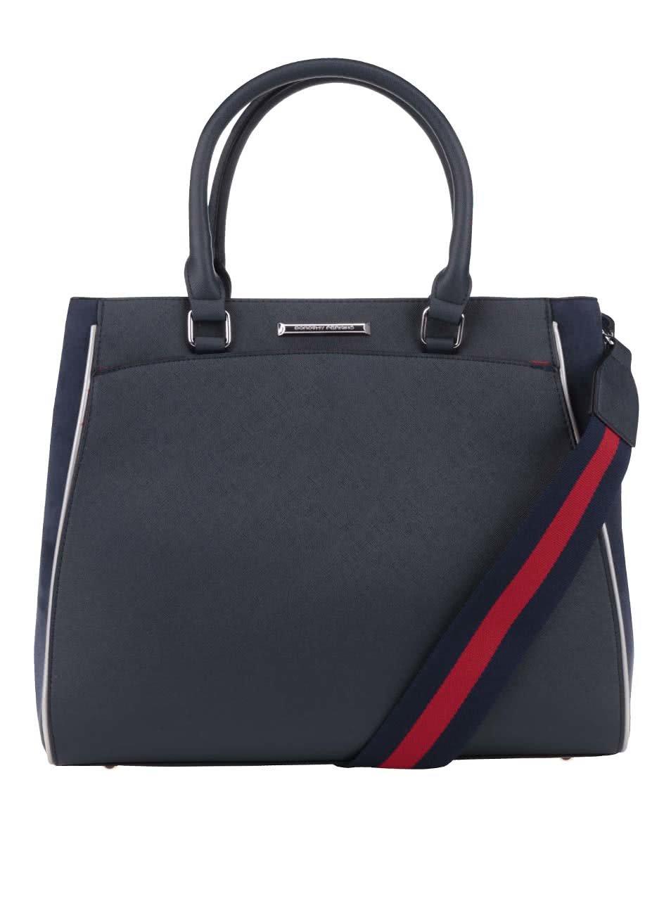 Tmavě modrá větší kabelka s modro-červeným popruhem Dorothy Perkins