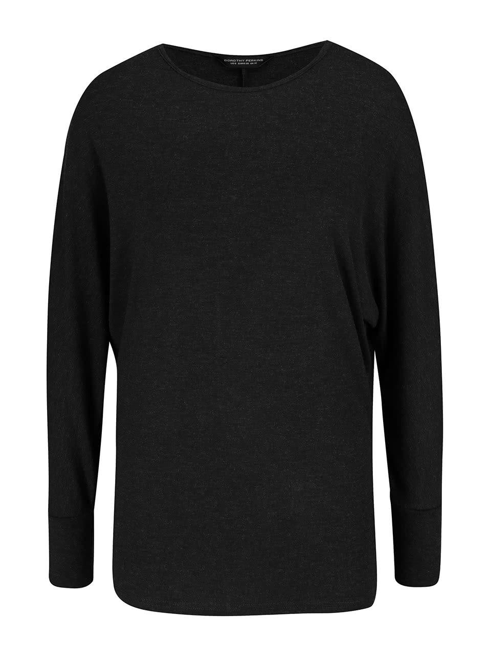Tmavě šedé tričko s netopýřími rukávy Dorothy Perkins