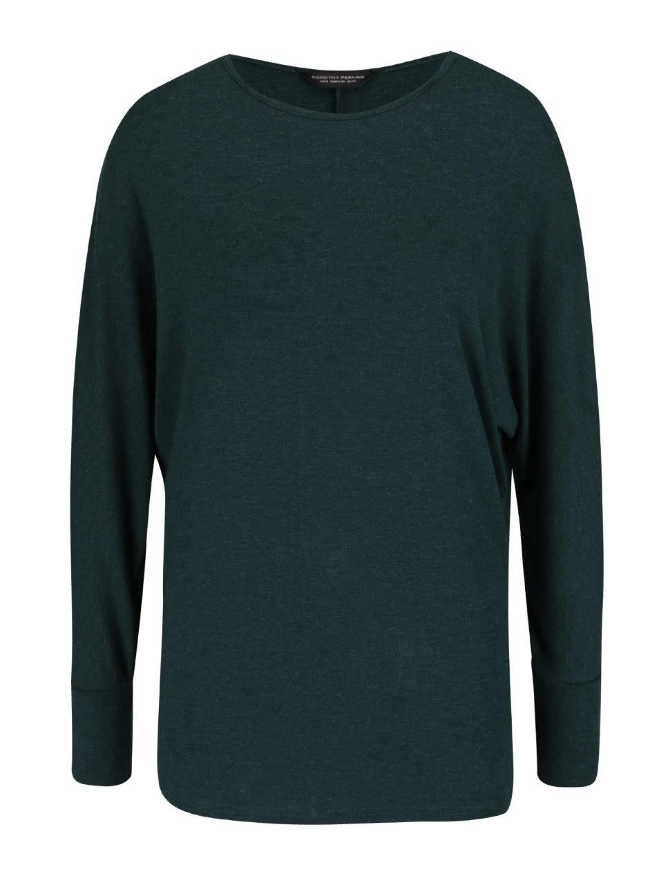 Tmavě zelené tričko s netopýřími rukávy Dorothy Perkins