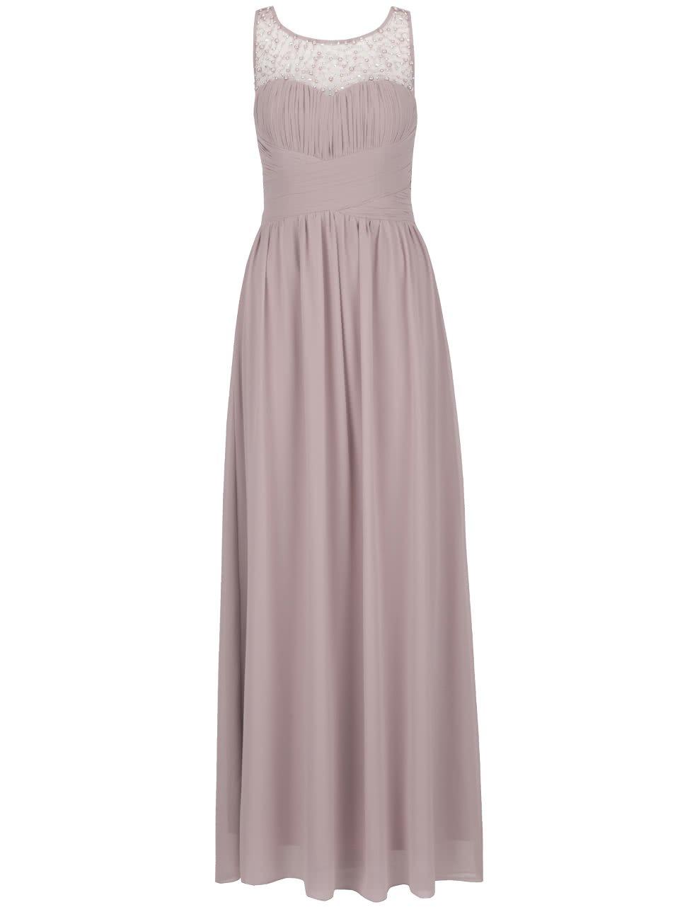 Pudrové dlouhé šaty s jemně plisovaným topem s korálky Little Mistress