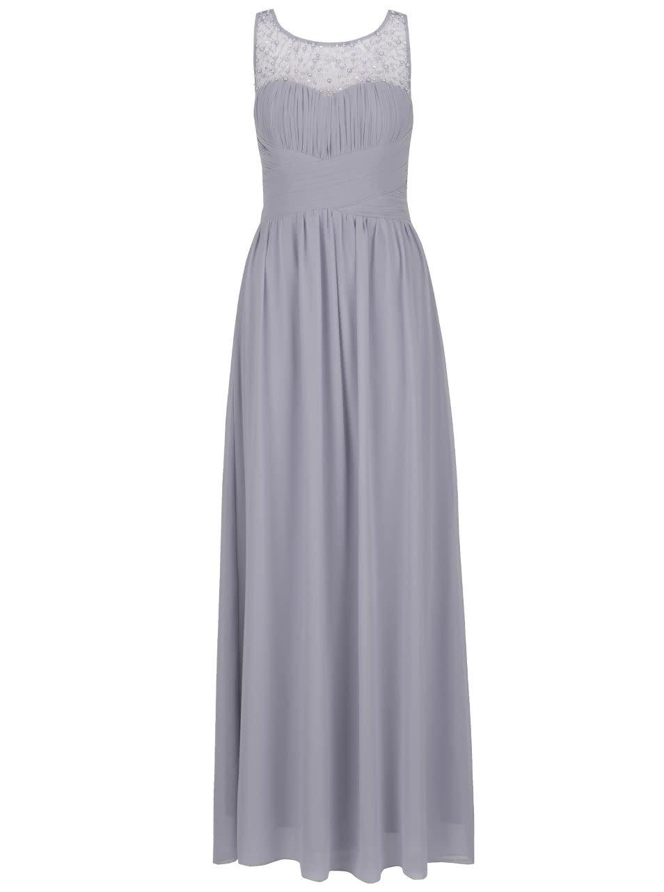Šedé dlouhé šaty s jemně plisovaným topem s korálky Little Mistress