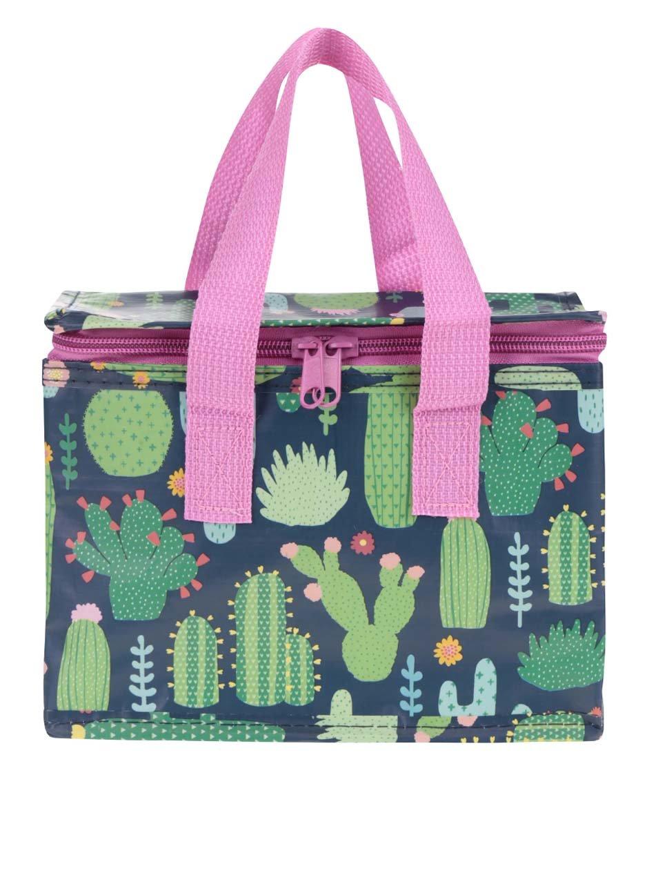 Modro-zelený box na jídlo s potiskem kaktusů Sass & Belle