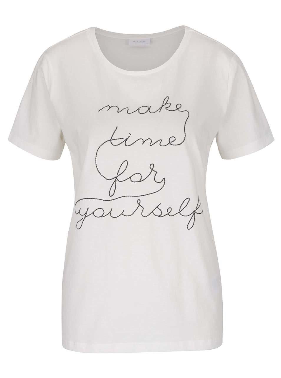 Krémové tričko s nápisem VILA Spell It