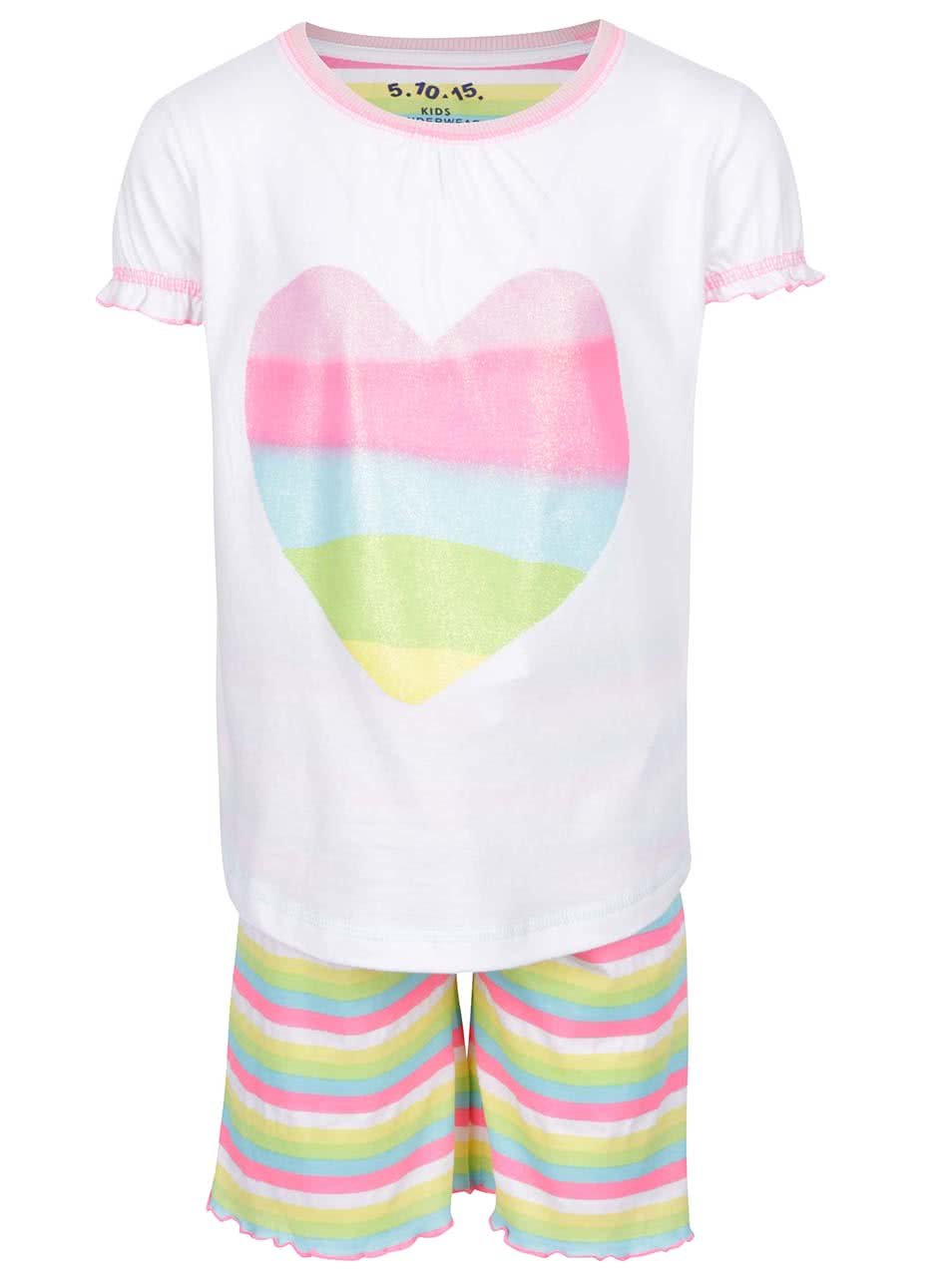 Zeleno-růžovo-bílé holčičí pyžamo s potiskem srdce 5.10.15