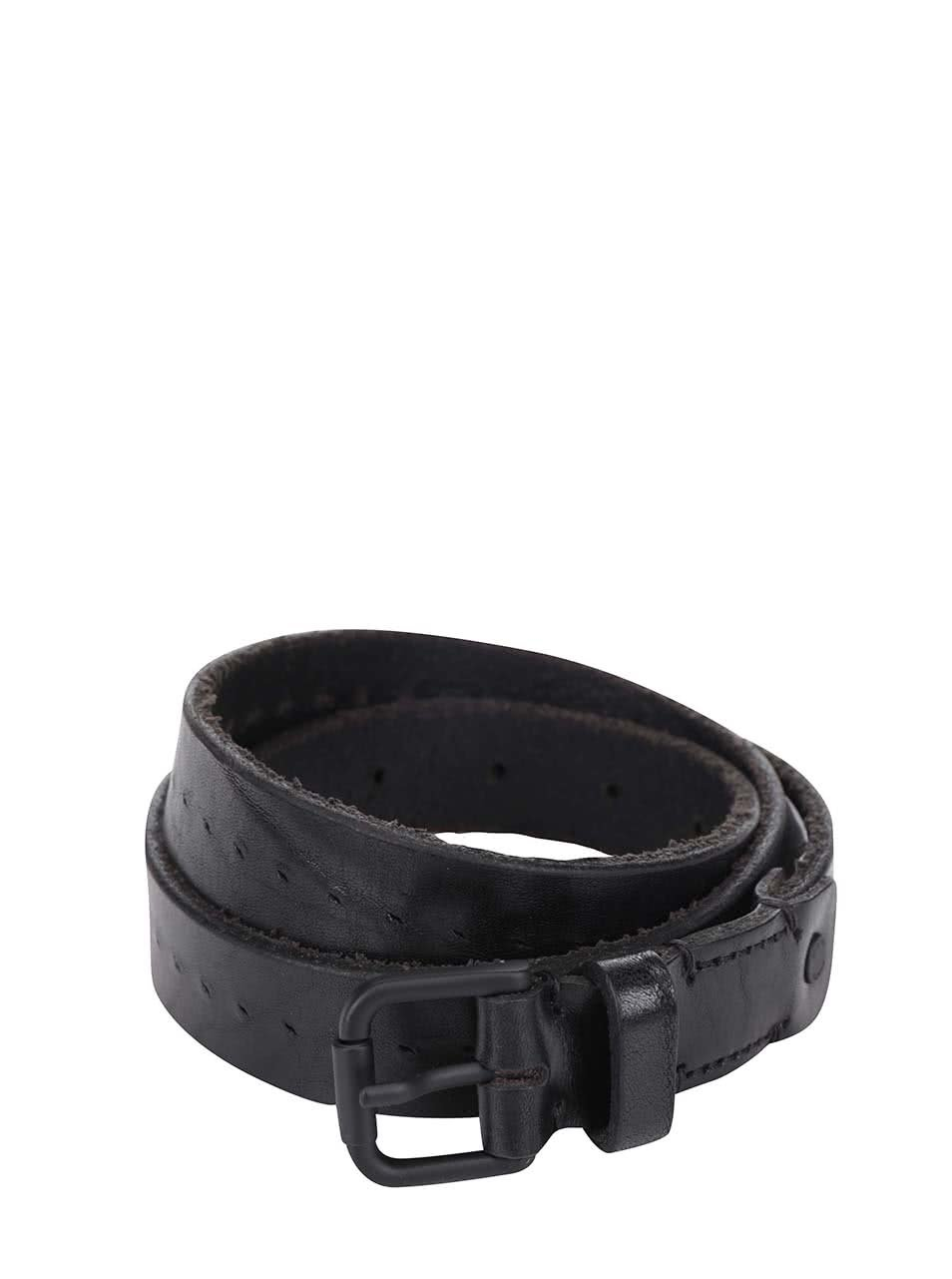 Černý kožený pásek Selected Homme Peter