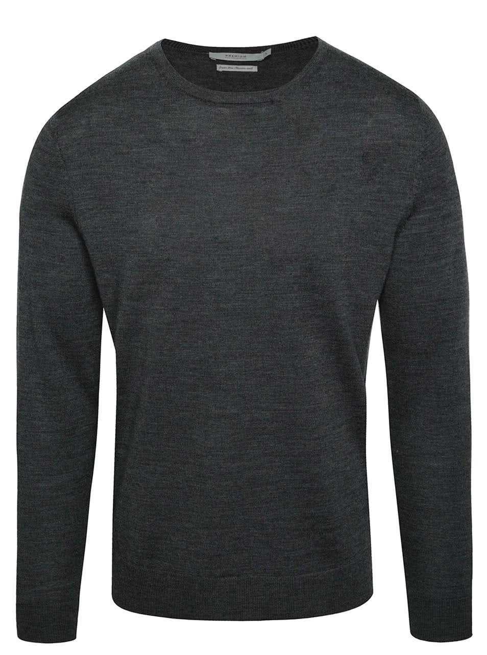 Tmavě šedý svetr z Merino vlny Jack & Jones Premium Mark
