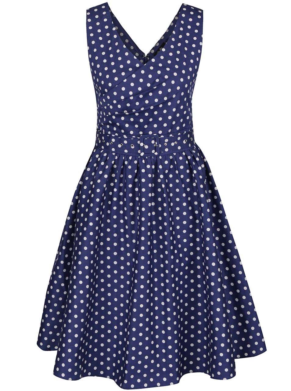 Modré puntíkované šaty s překládaným výstřihem Dolly & Dotty May