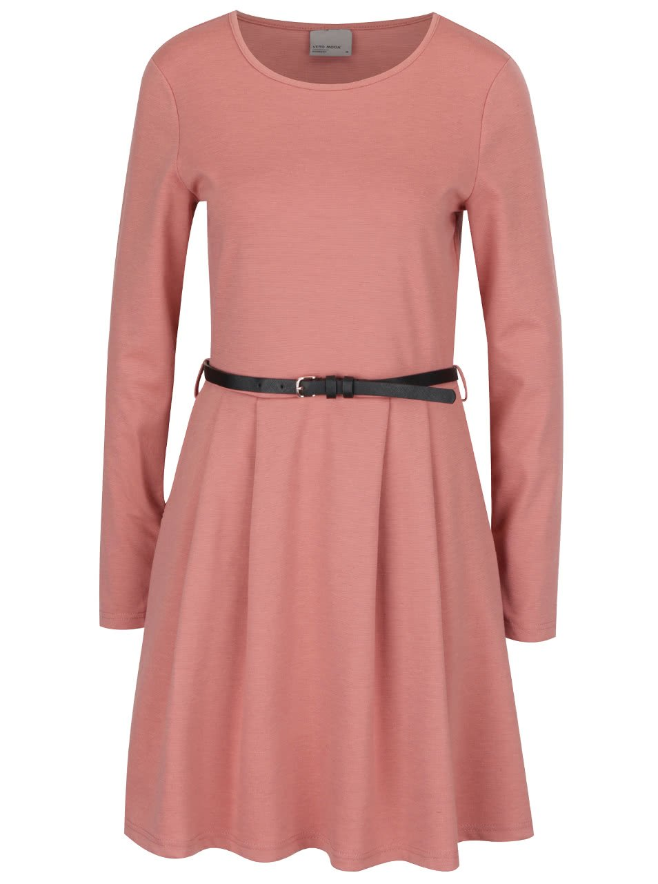 Starorůžové šaty s dlouhým rukávem Vero Moda Kally