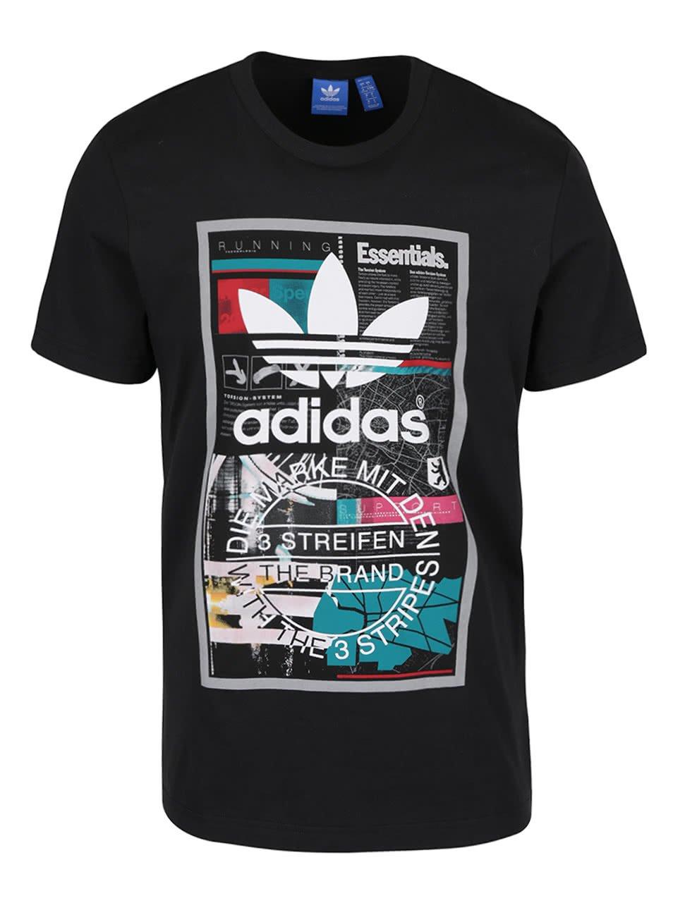 Černé pánské triko s potiskem adidas Originals Editorial Tongu
