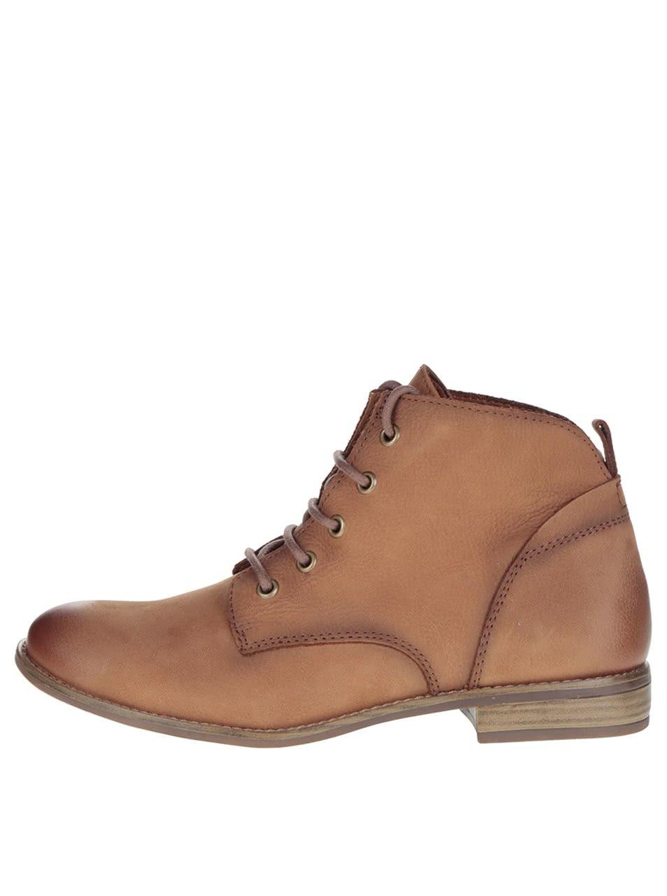 Světle hnědé kožené kotníkové boty na šněrování Tamaris
