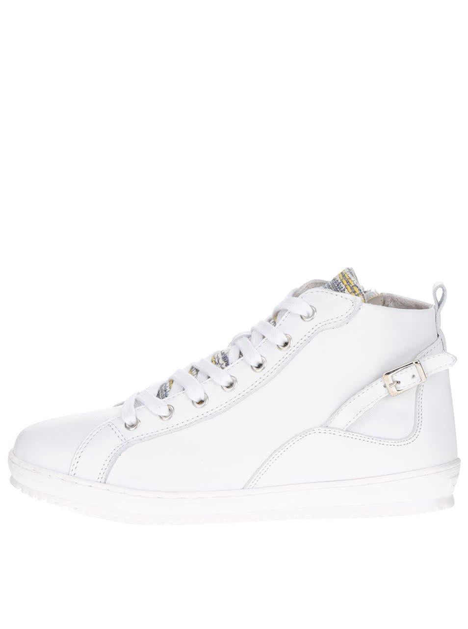 Bílé kožené kotníkové boty se zipem Tamaris