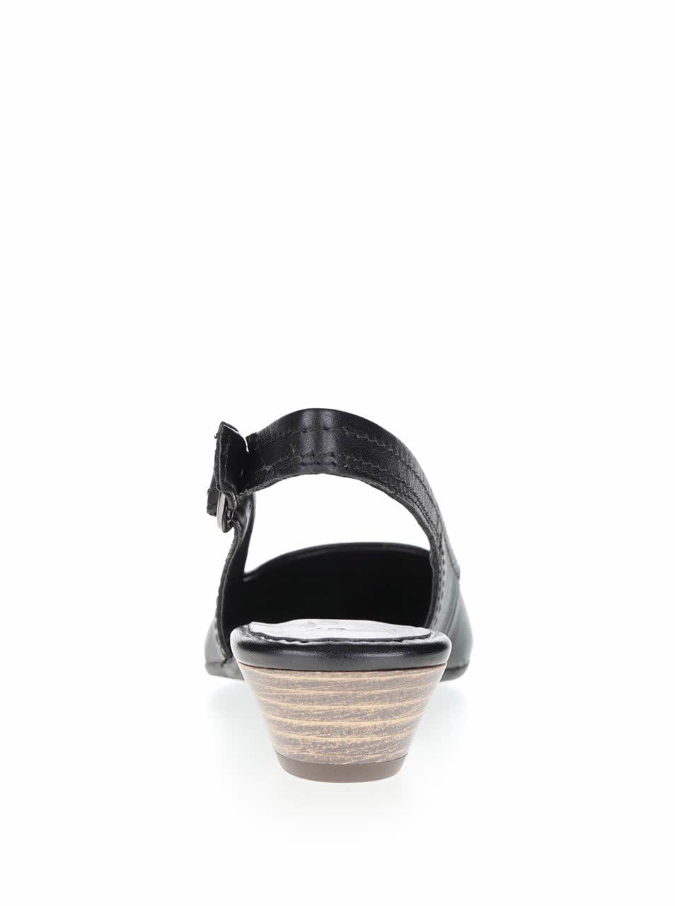 Černé kožené lodičky na nízkém podpatku Tamaris - eleganter.cz deb8555881