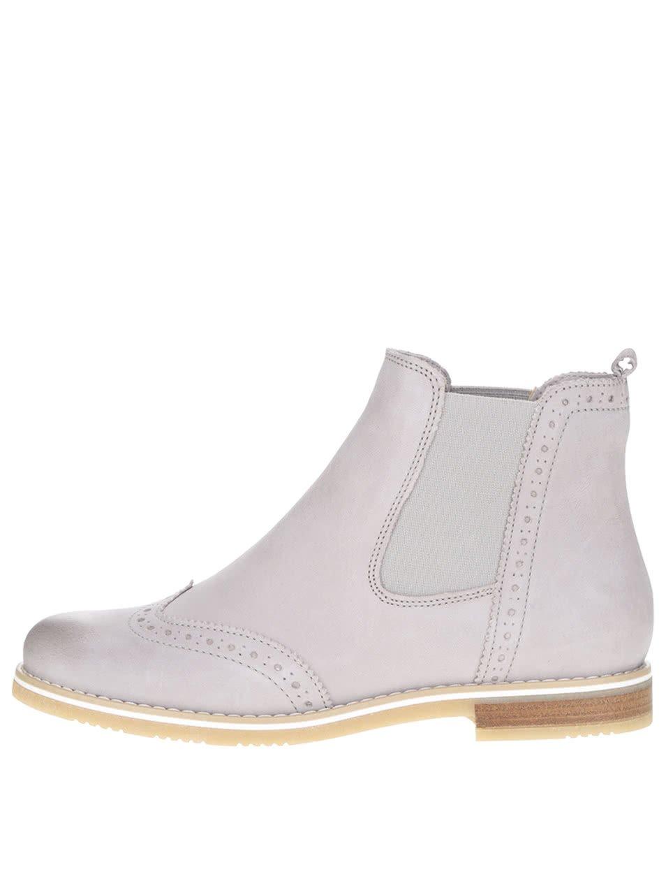 Světle šedé kožené chelsea boty s brogue detaily Tamaris