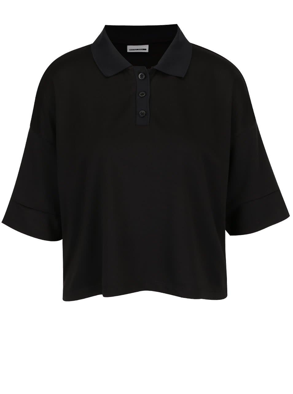 Černé oversize krátké polo tričko Noisy May Rain