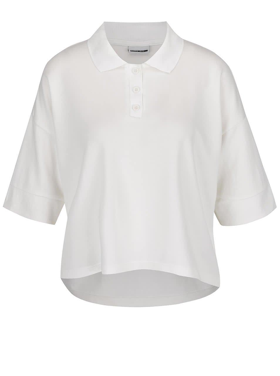 Krémové krátké oversize polo tričko Noisy May Rain
