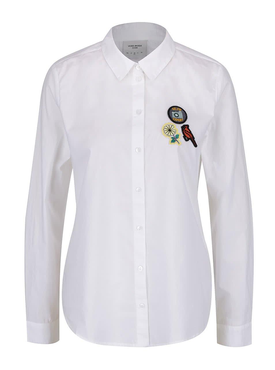 Bílá košile s barevnými nášivkami VERO MODA Badge
