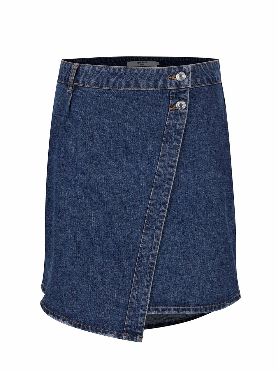 Modrá džínová zavinovací sukně VERO MODA Susanna