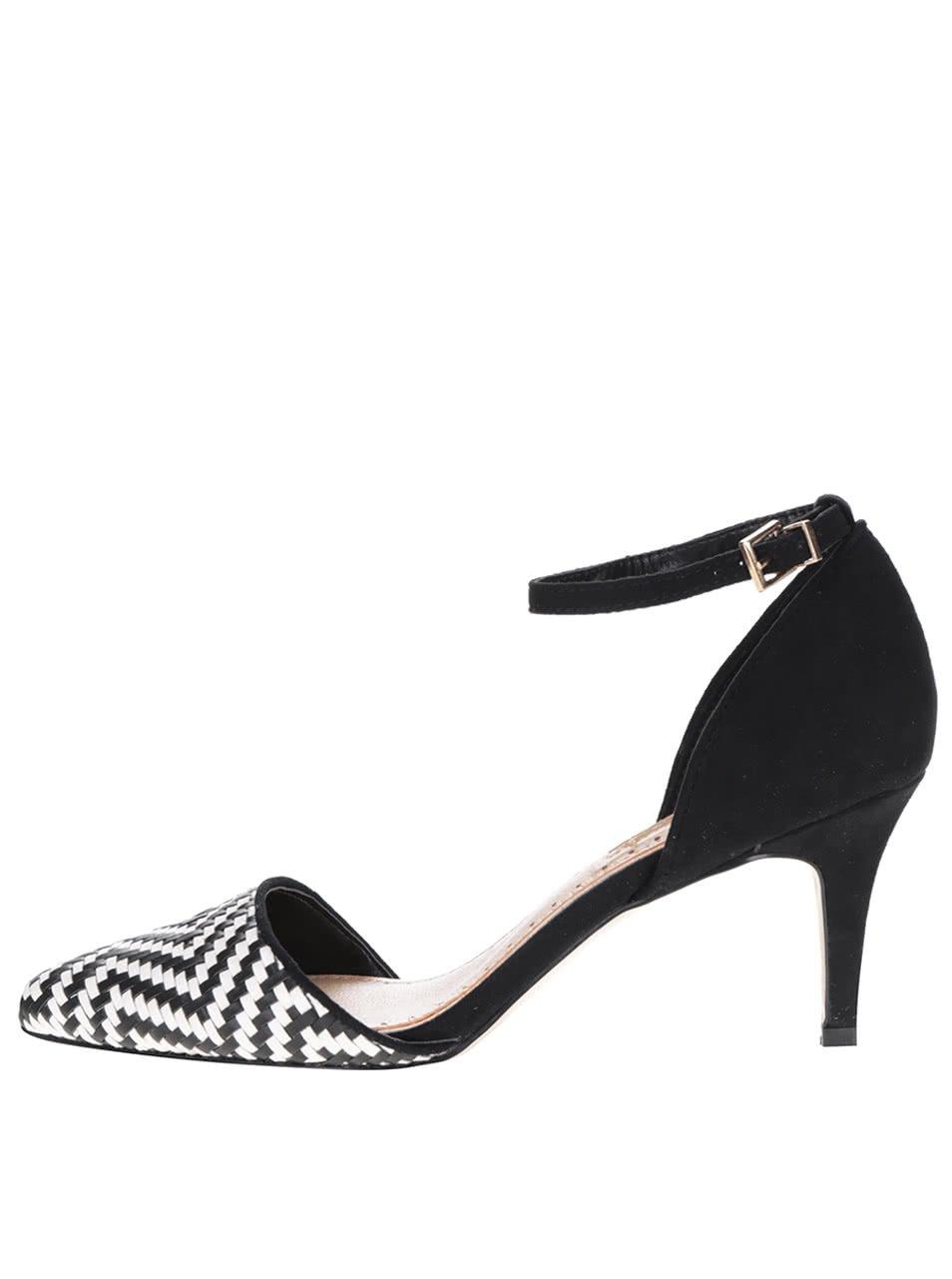 Černo-bílé dámské boty v semišové úpravě na podpatku Miss KG