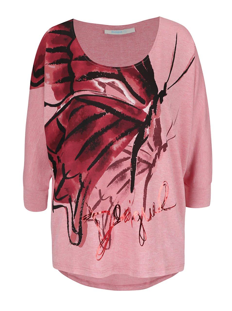 Světle růžové tričko s netopýřími rukávy Desigual Mireia