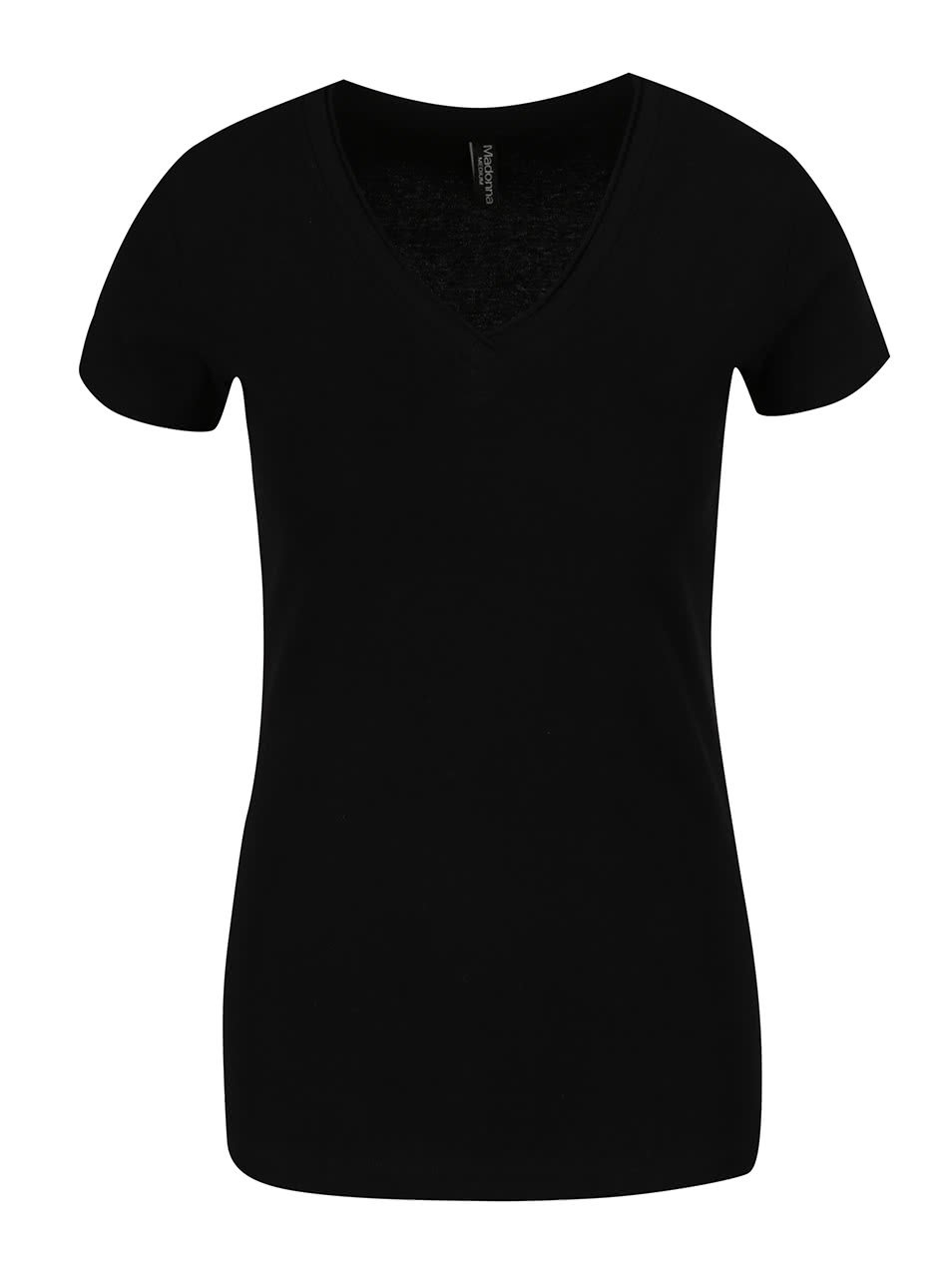 Černé tričko s véčkovým výstřihem Madonna Basic