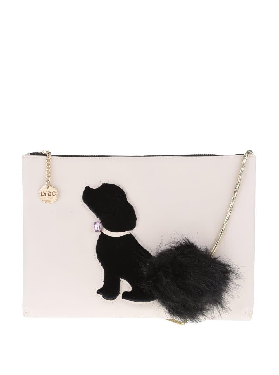 Starorůžová crossbody kabelka s černým plastickým motivem psa a aplikací LYDC