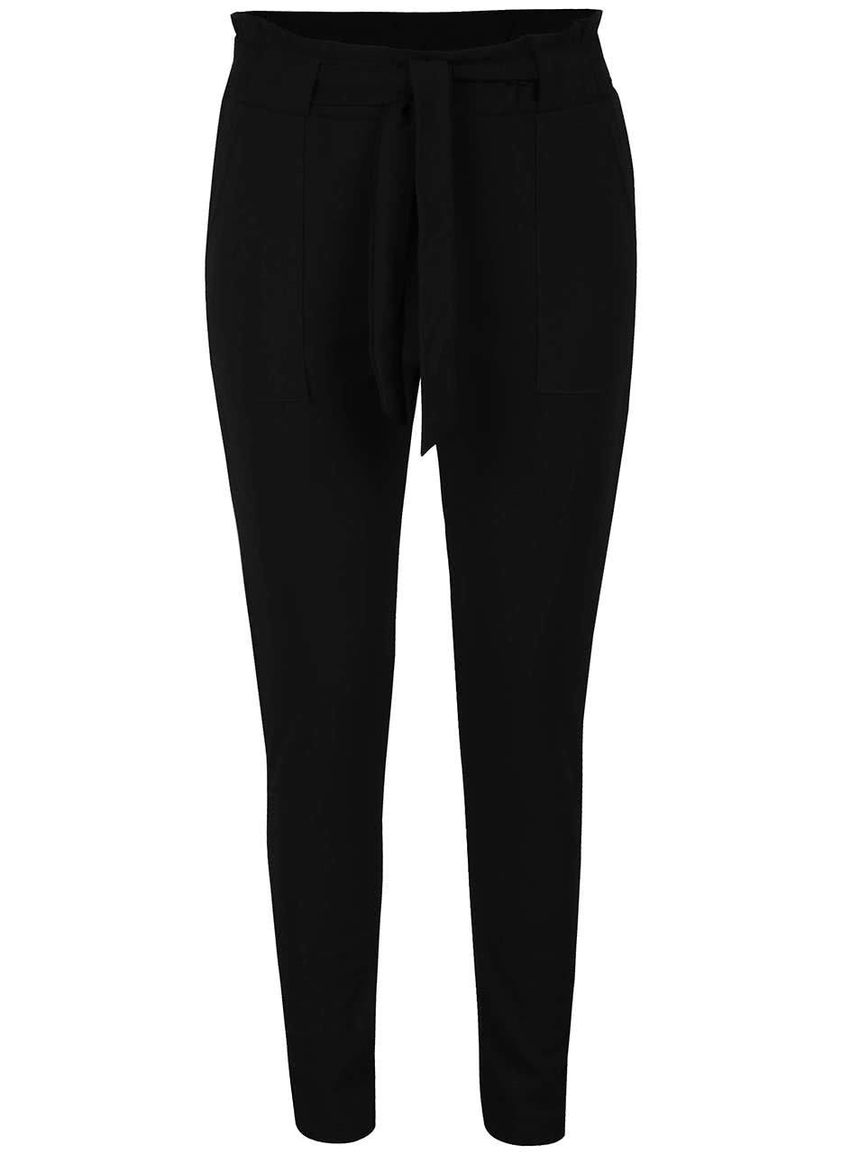 Černé volné kalhoty se zavazováním Haily's Zana