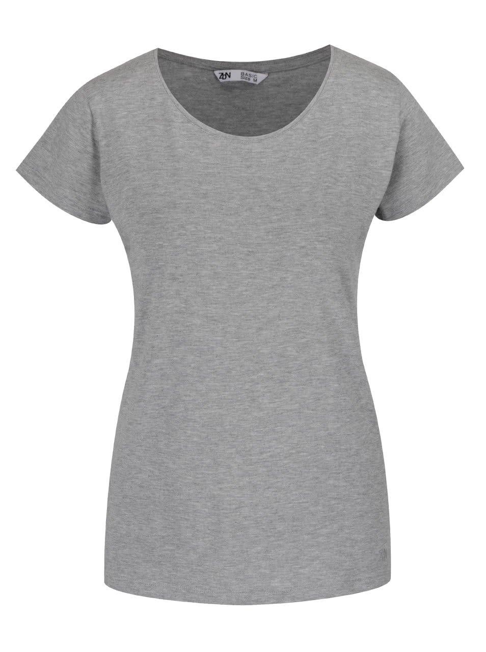 Šedé basic tričko s kulatým výstřihem Zabaione Steffi