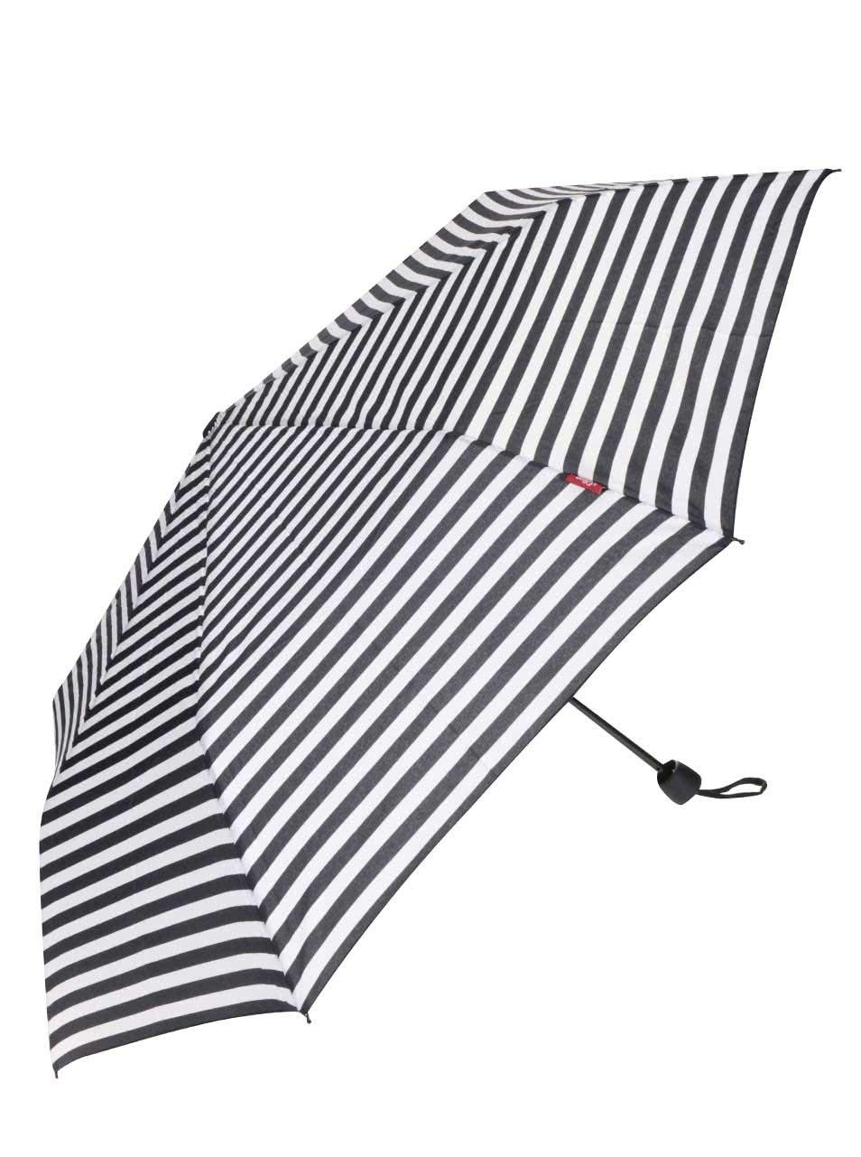 Černo-krémový dámský pruhovaný deštník s.Oliver