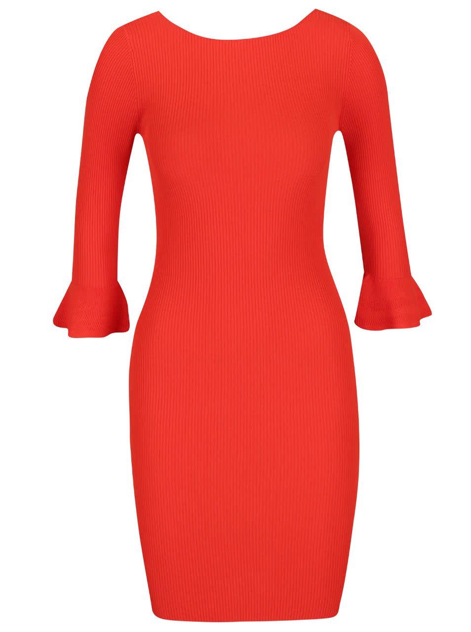 Červené žebrované minišaty s volánky Miss Selfridge