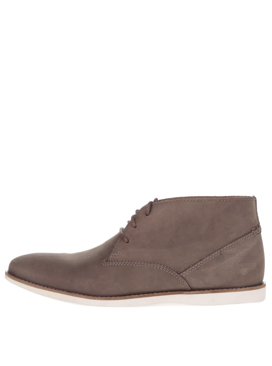 Hnědé pánské semišové kotníkové boty Clarks Franson Top