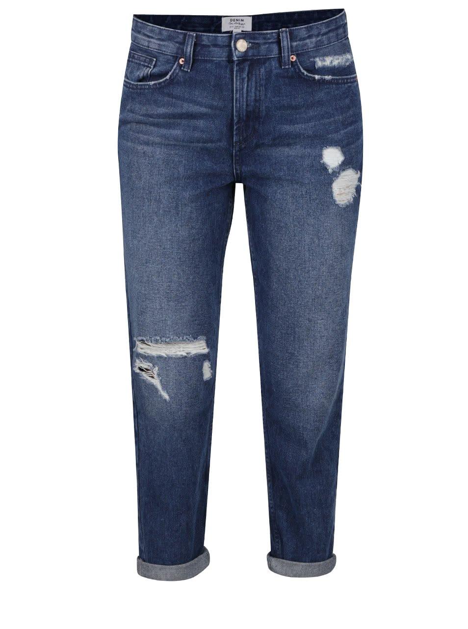 Tmavě modré zkrácené džíny s potrhaným efektem Miss Selfridge