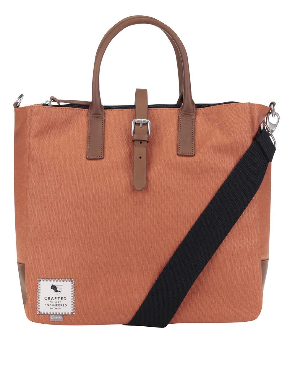 Oranžová pánská taška s koženými detaily Clarks The Gray