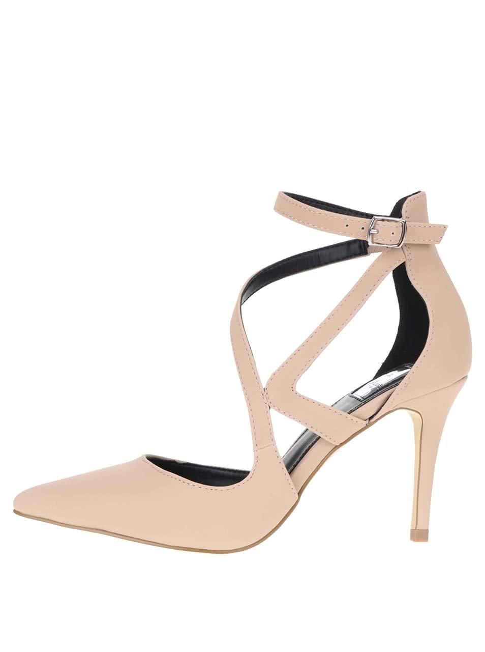 Béžové sandálky na podpatku Miss Selfridge