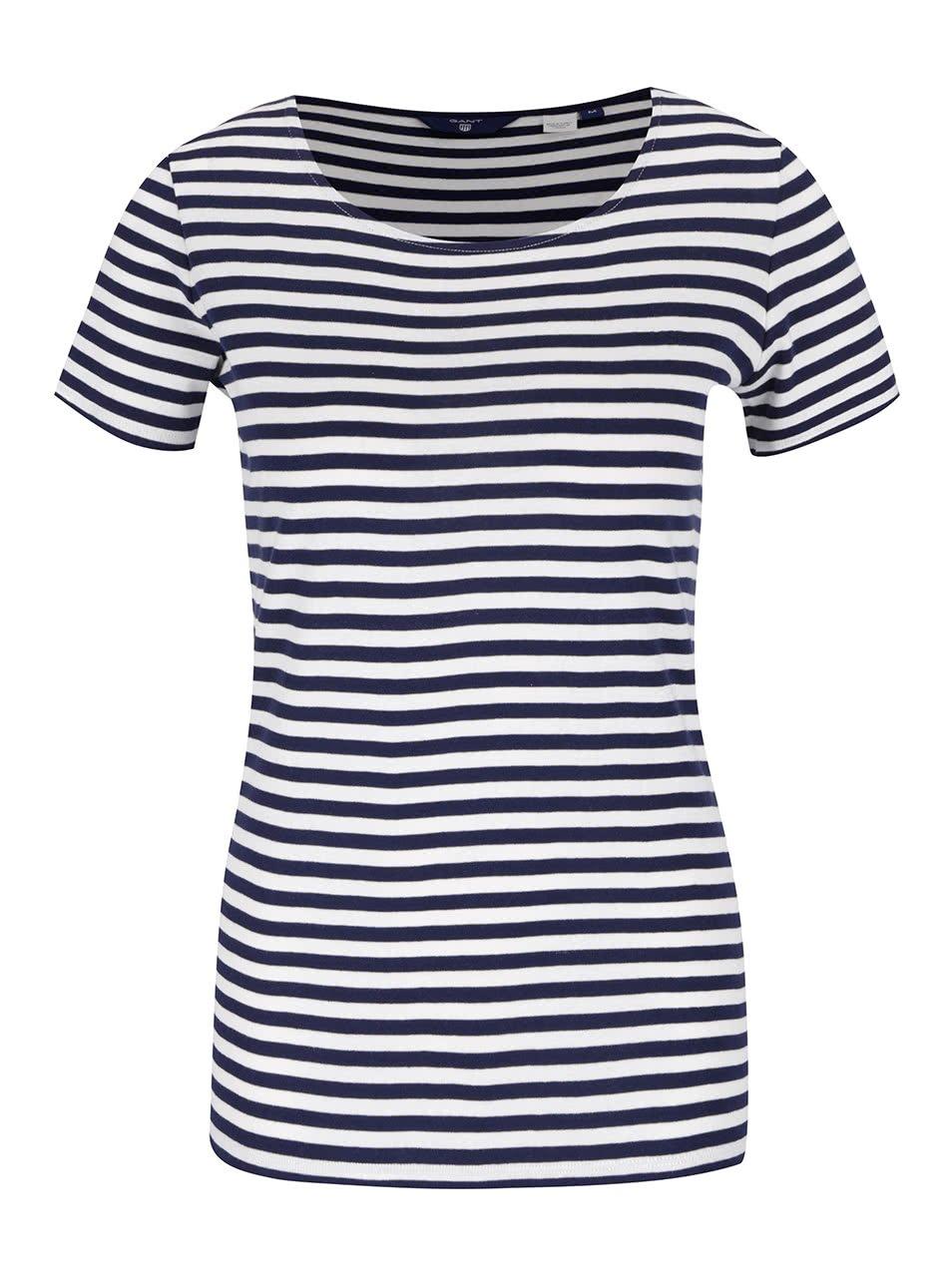 Krémovo-modré dámské pruhované tričko GANT