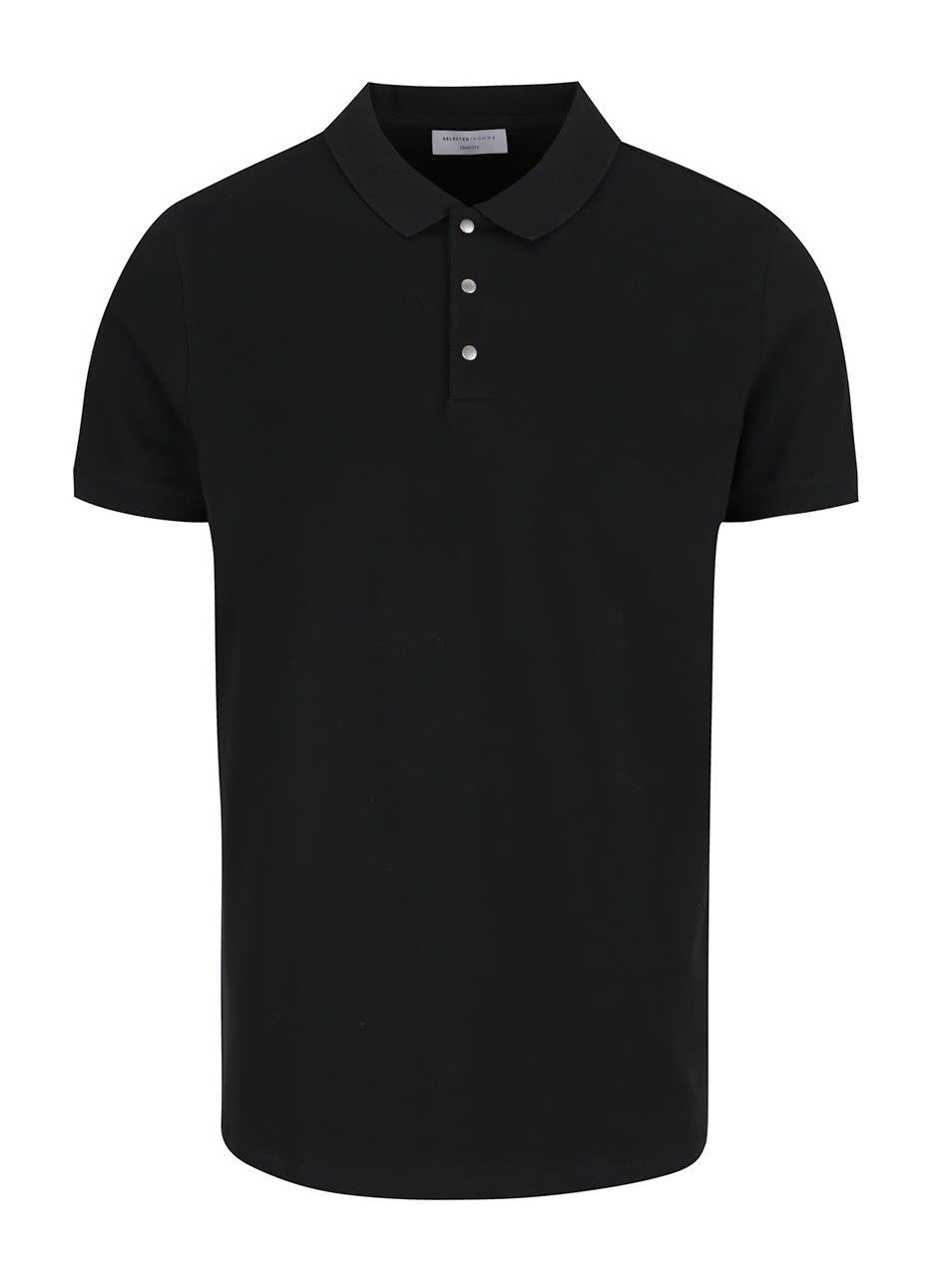 Černé polo tričko Selected Homme Damon