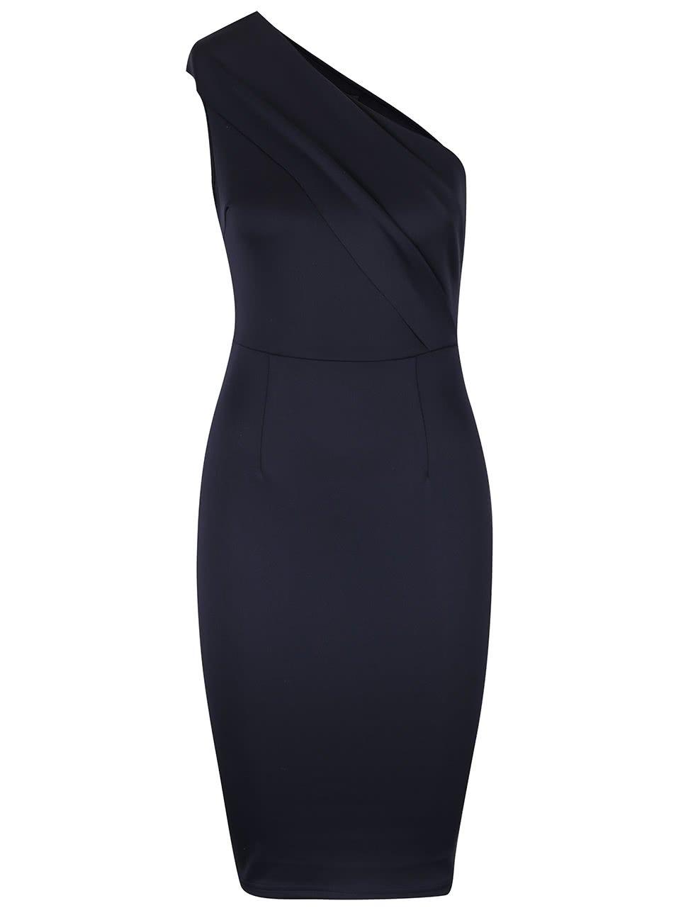 Tmavě modré šaty na jedno rameno AX Paris