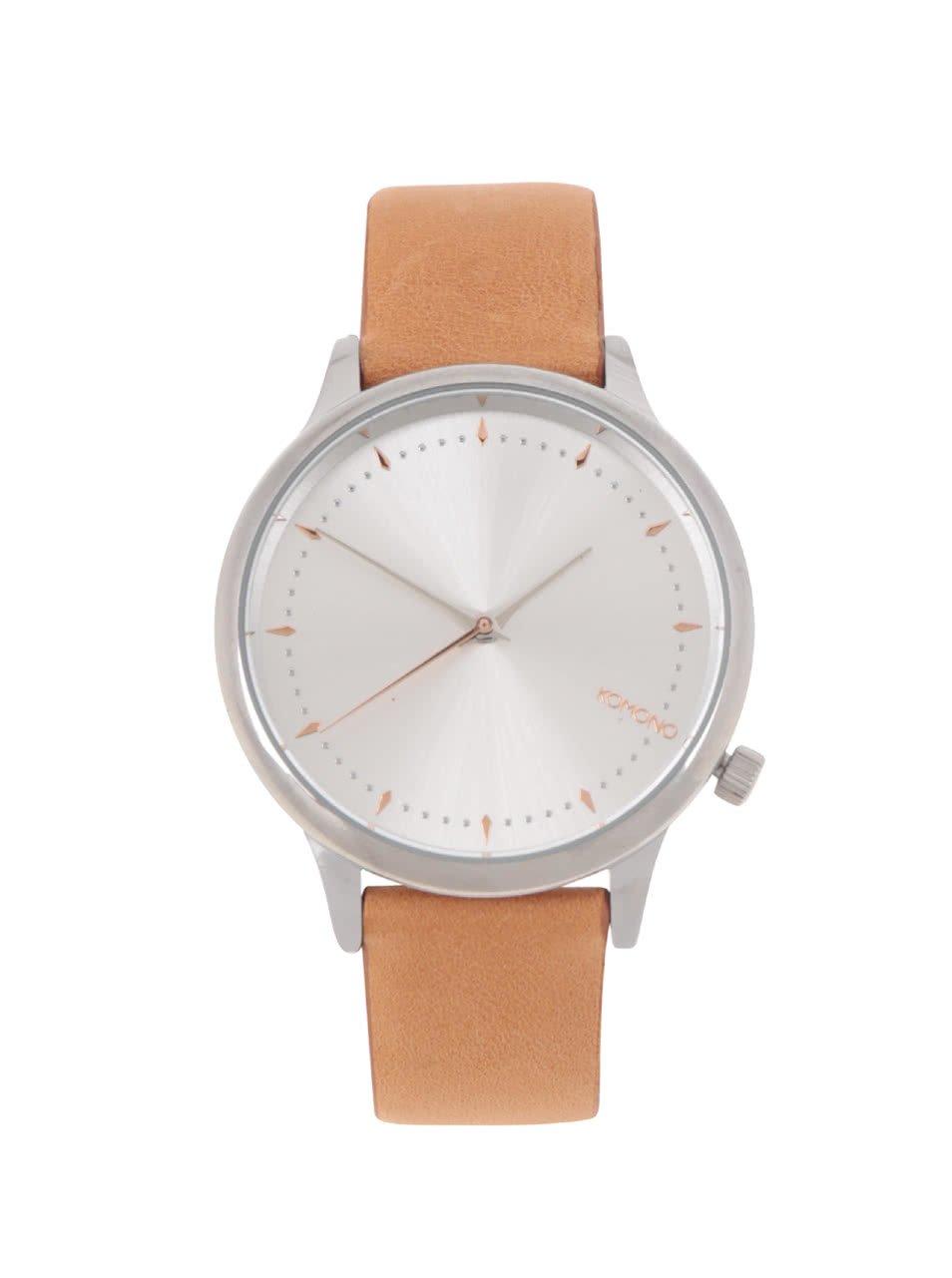 Dámské hodinky ve stříbrné barvě s koženým páskem Komono Estelle