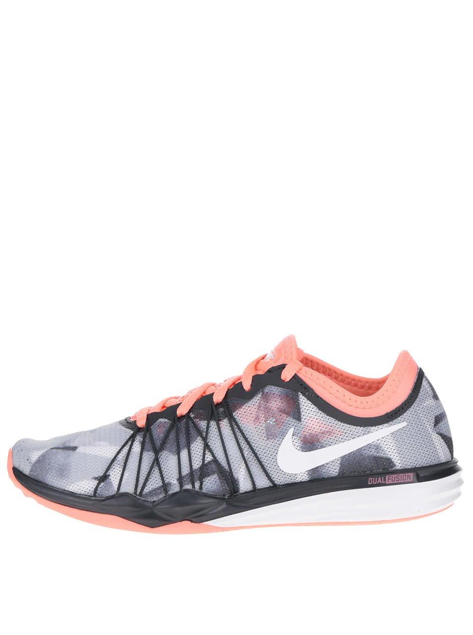 Růžovo-šedé dámské vzorované tenisky Nike Dual Fusion