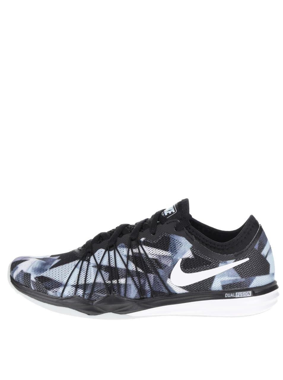 Modro-černé dámské vzorované tenisky Nike Dual Fusion
