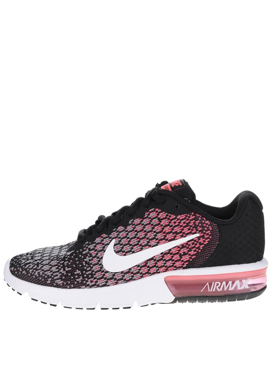 Růžovo-černé dámské vzorované tenisky Nike Air Max Sequent