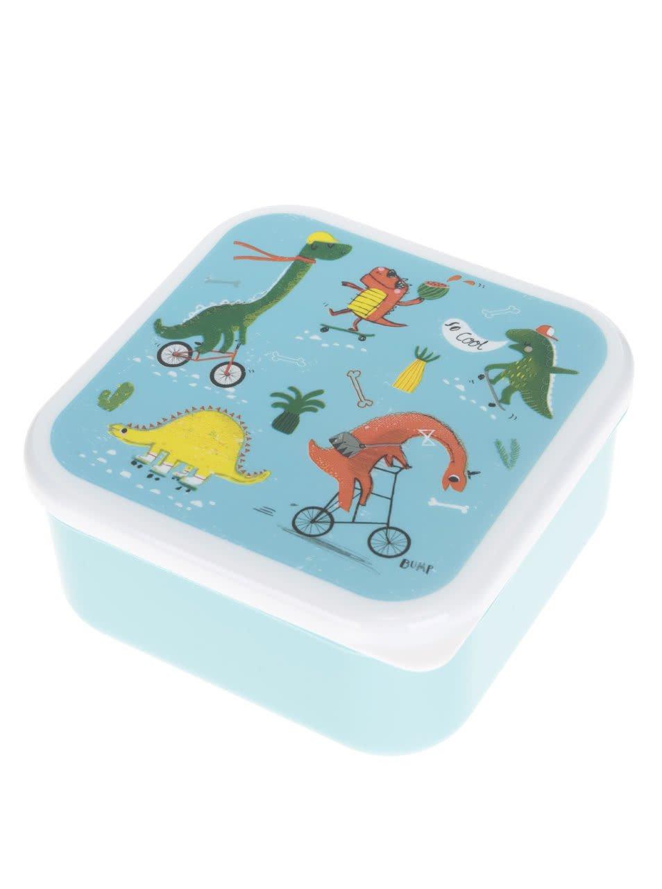 Tyrkysový box na jídlo s potiskem dinosaurů Sass & Belle