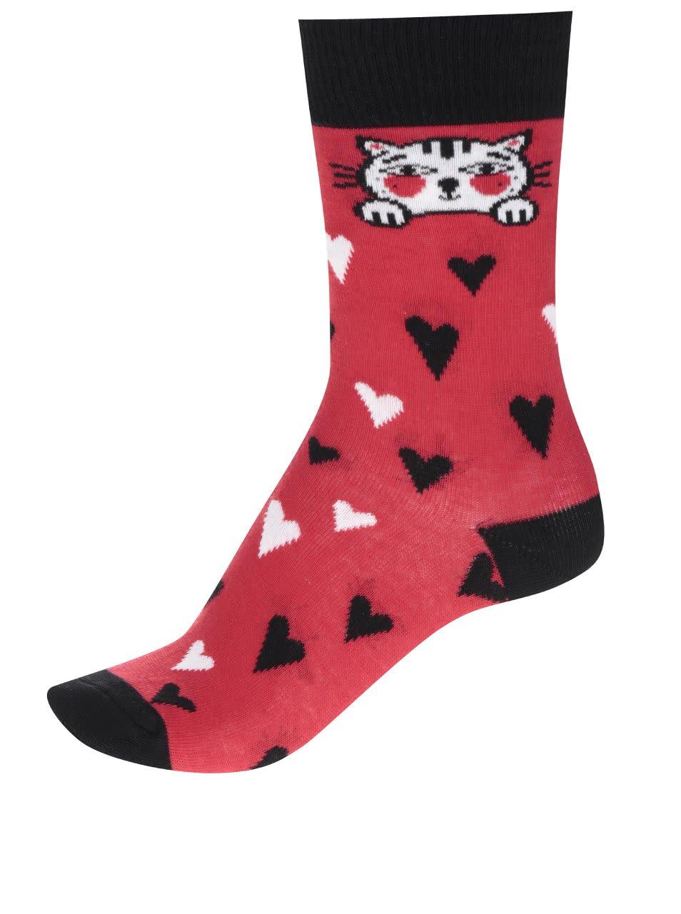 Červené dámské ponožky se srdíčky ZOOT Originál