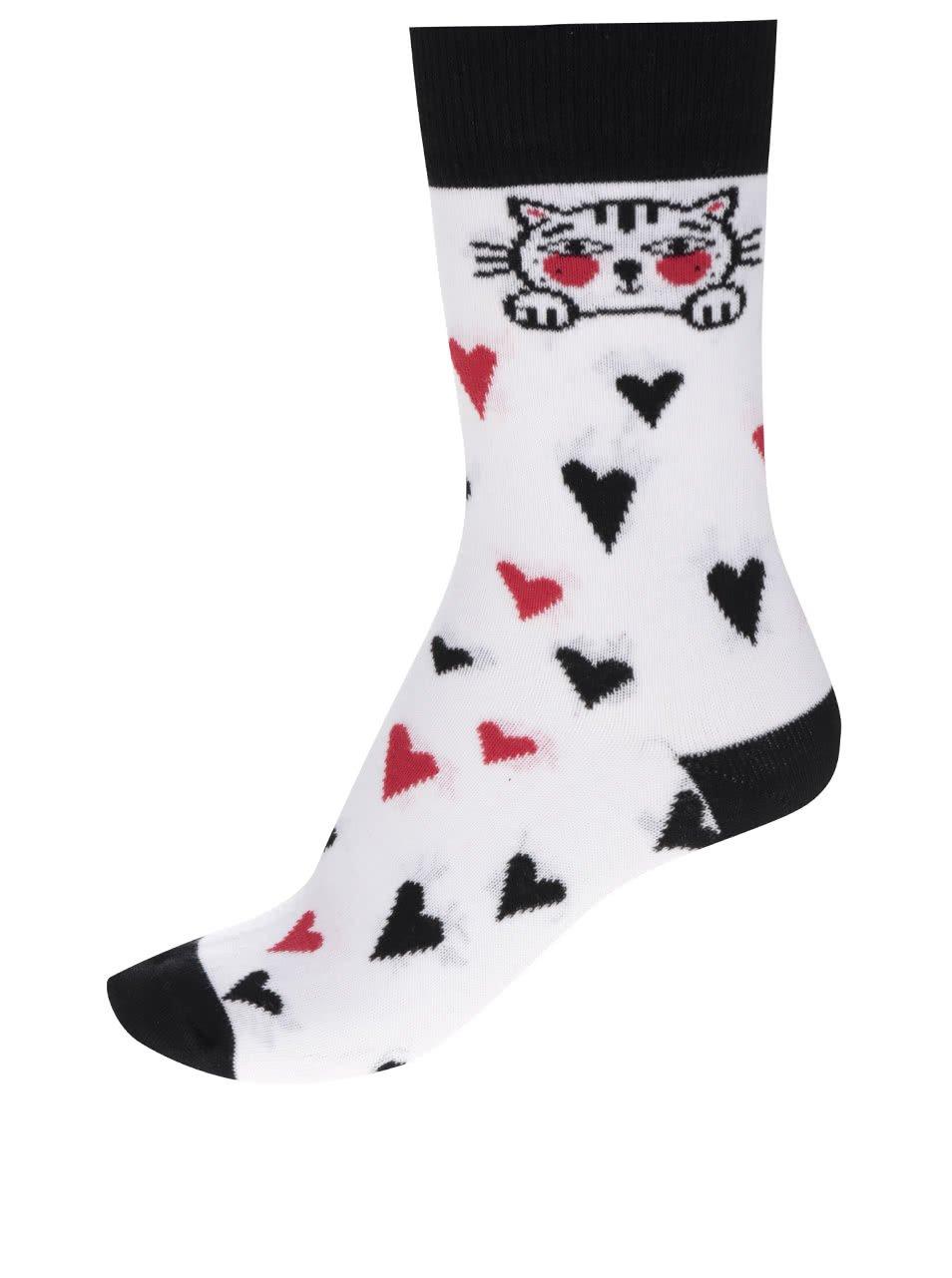 Bílé dámské ponožky se srdíčky ZOOT Originál